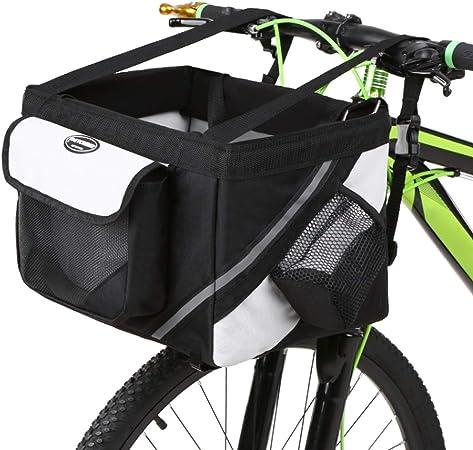 SJWR Bolsa para Cesta De Bicicleta Portador Mascotas, Delantera Perro Cachorro, Asiento Viaje Gatos Pequeños, con La Seguridad Tu Mascota,Black: Amazon.es: Hogar