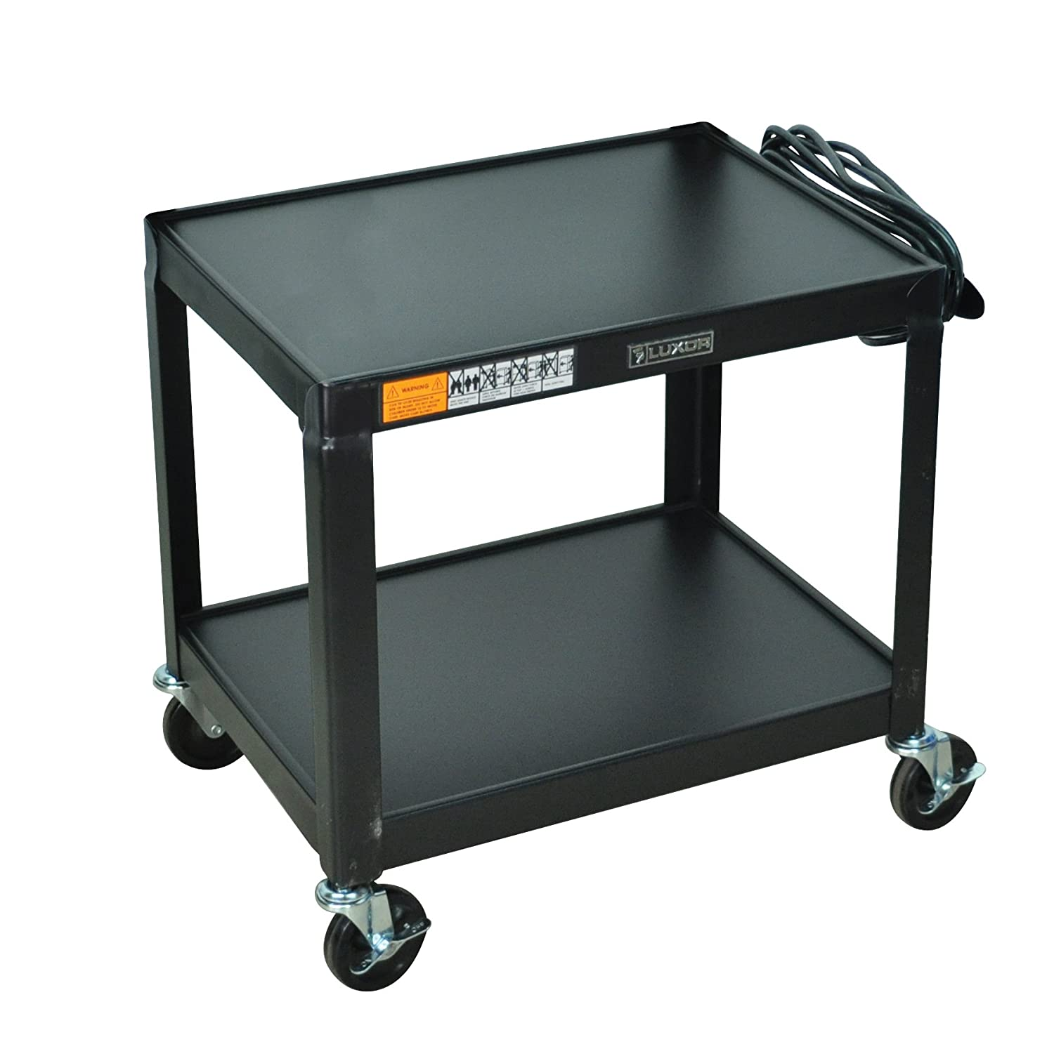 DMD Audio Visual AV Utility Cart Mobile Presentation Station with Two Shelves, 26 Inch Height, Electrical Assembly, High Gloss Metal Cart in Black