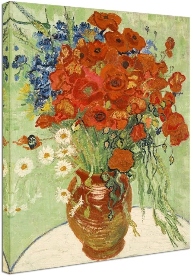 Wieco Art Abstract HD Red Poppies and Daisies Canvas Prints Wall Art of Van Gogh Famous Floral Oil Paintings Reproduction Classic Flowers Pictures Artwork on for Home Office Decorations Wall Decor