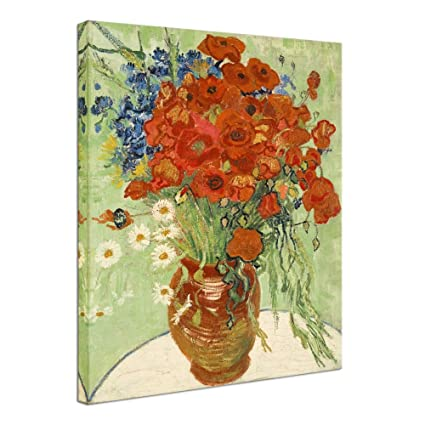 Wieco art abstract hd red poppies and daisies canvas prints wall art of van gogh famous