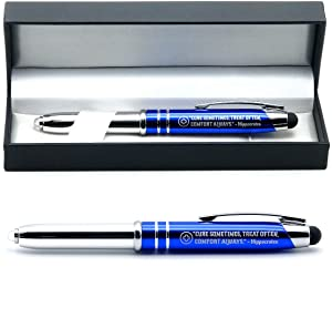"Medical Gift Pen with Inspirational Quote -""Cure Sometimes, Treat Often, Comfort Always. - Hippocrates"" - Engraved Pen with Light and Stylus - Gifts for Doctors Nurses Medical Assistants"
