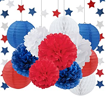 Amazon patriotic decoration wedding decoration navy blue white patriotic decoration wedding decoration navy blue white red tissue paper pom pom paper flower paper lantern mightylinksfo