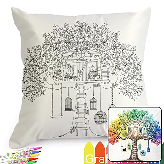 Amazon.com: Treehouse Pattern Graffiti Coloring Pillowcases 18 ...