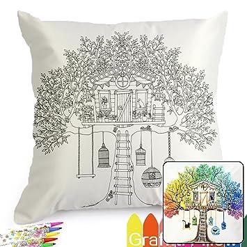 Amazon.com: Treehouse Pattern Graffiti Coloring Pillowcases 18 Inch ...