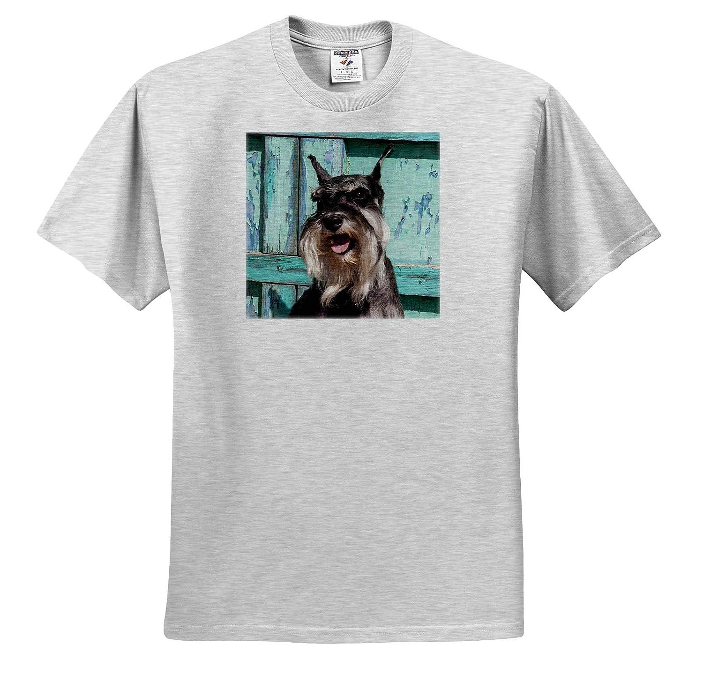 Dogs Adult T-Shirt XL ts/_314947 Schnauzer Sitting in Front of Blue Door 3dRose Danita Delimont