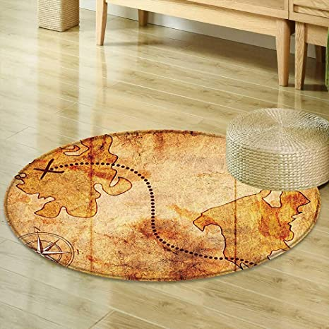 Round Rug Kid Carpet Compass Decor Bohemian Style Treasure Hunt Map With  Small Compass Paint On