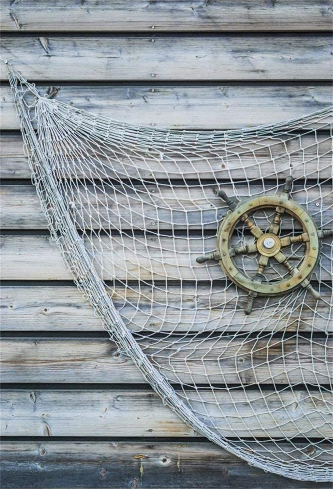 EdCott 3x5ft Fondo de Fiesta náutica para Fotos Feliz cumpleaños Fiesta Baby Shower Decoración Barco Pirata Timón Estilo Antiguo Timón Red de Pesca Madera Fotografía Fondo Photo Studio Props: Amazon.es: Electrónica