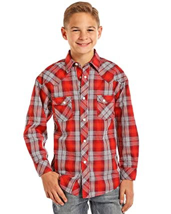 50e0c03b8e7 Amazon.com  Rock   Roll Cowboy Boys Red Grey Plaid Western Shirt ...