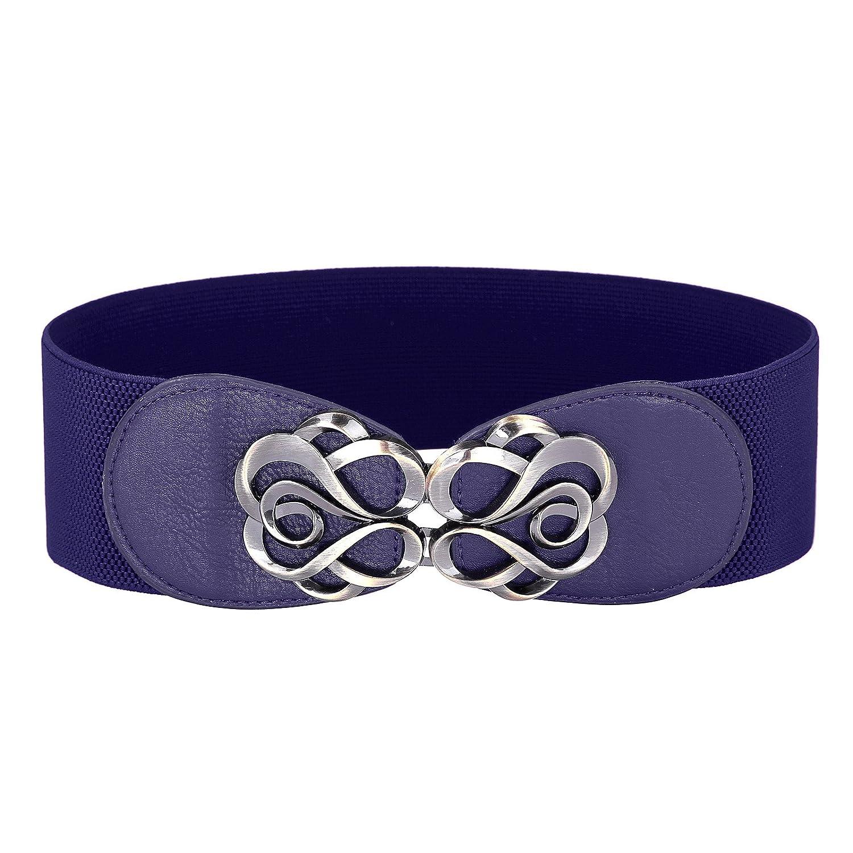 Grace Karin Damen breit Metall Schnalle stretch elastisch Taille Gürtel mehrfarbig CL413