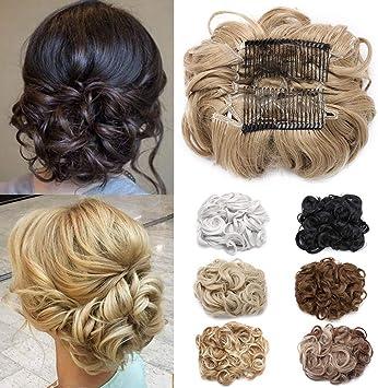 Blond Cendre Chouchous Cheveux Pour Chignon Peigne 90g Postiche Queue De Cheval Cheveux Chignon Boucle Attache Par Peigne Amazon Fr Beaute Et Parfum