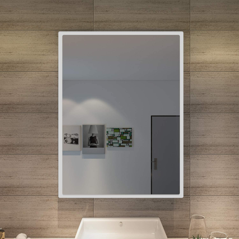SONNI Badspiegel mit Beleuchtung 45 x 60 cm Wandspiegel Spiegel mit Beleuchtung Badezimmerspiegel kaltwei/ß IP44 Badezimmer Bad Spiegel