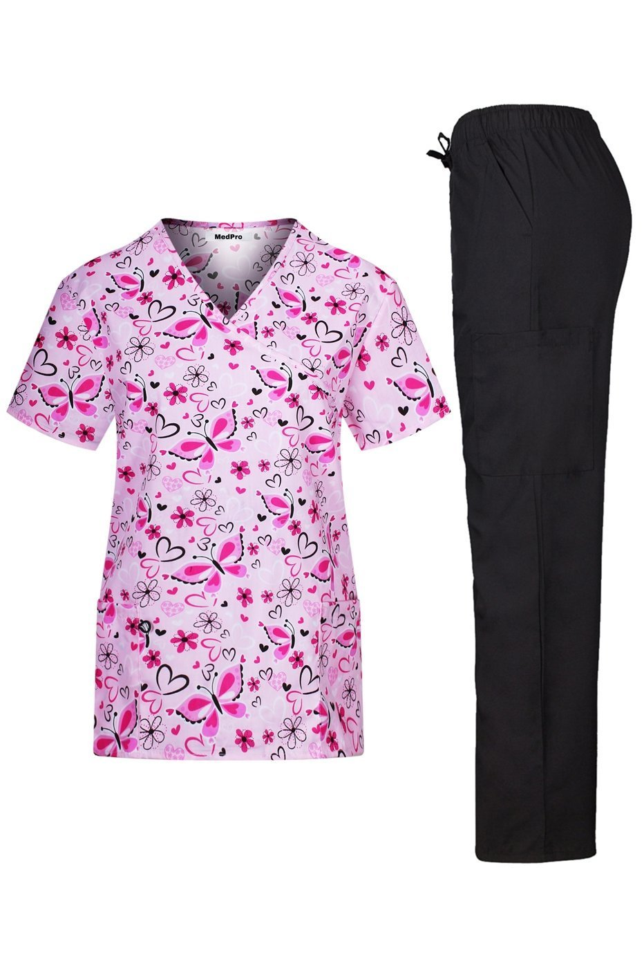 MedPro Women's Medical Scrub Set with Printed V-Neck Wrap Top and Cargo Pants? Pink Black L
