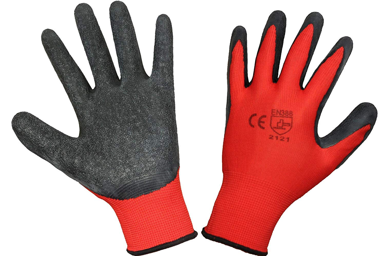 12 Pairs EETools/® Latex Coated Builders Work Safety Glove LARGE//SIZE 9