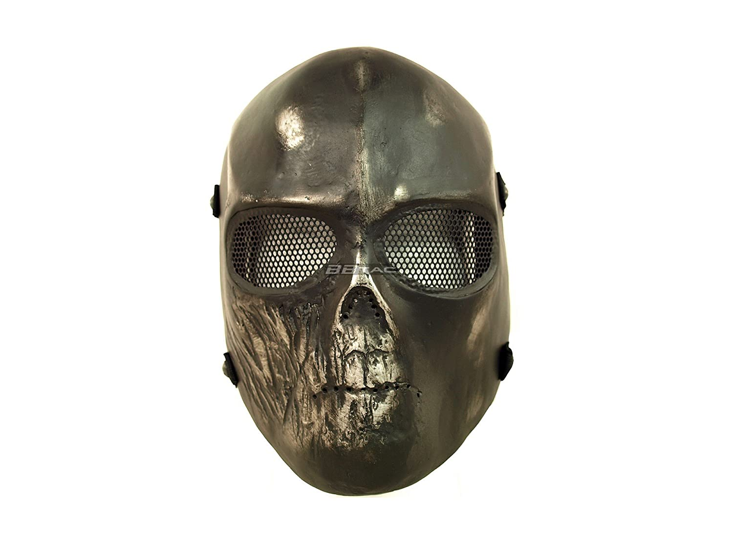Amazon.com : BBTac Airsoft Mask Black Skull Ghost Recon Full Face ...