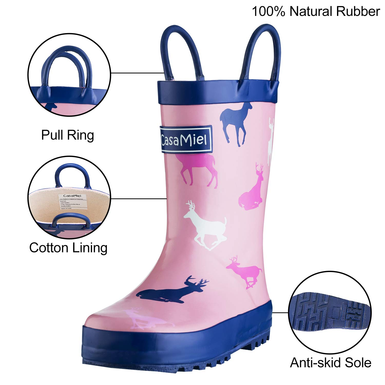 CasaMiel Kid&Toddler Rain Boots for Girls, Children's Handcrafted Rubber Boots, Pink Christmas Deer by CasaMiel (Image #2)