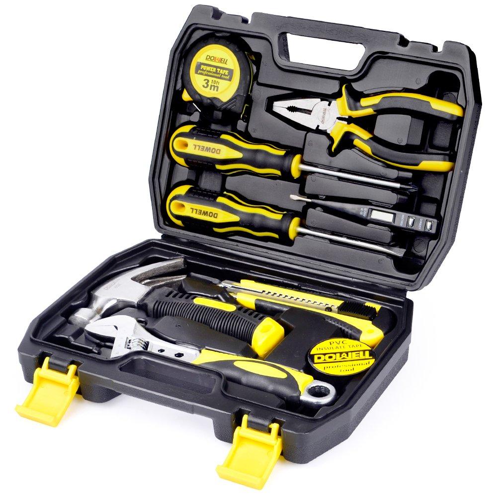 DOWELL 9PCS Small Tool Kit,Mini Portable Tool Set,Home Repair Hand Tool Kit with Plastic Tool box Storage Case