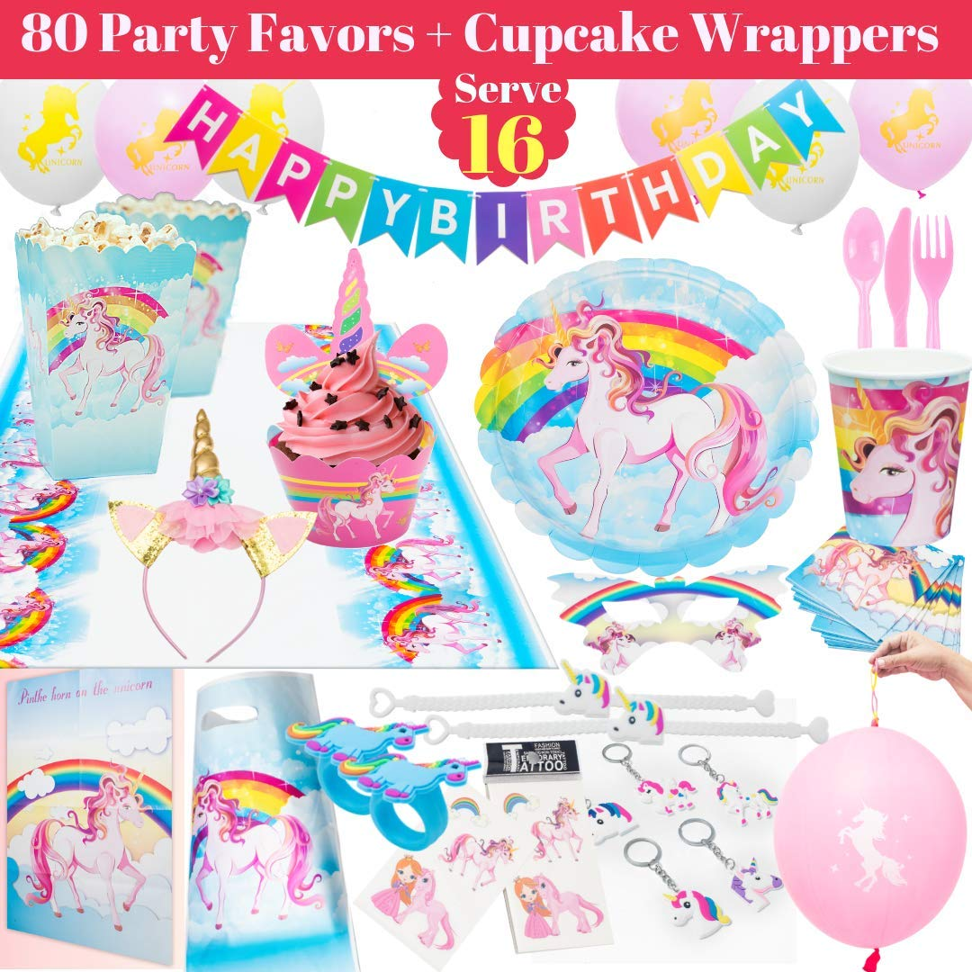 Rainbow Unicorn Party Supplies Pack Set - 275 pc Unicorn Party Favor Pink Unicorn Headband for Girls, Unicorn Birthday Party Supplies Theme Decorations, Plates, Cups, Balloons, Pin the Horn on the Unicorn Game, Unicorn Cupcake Toppers and more.Serve 16