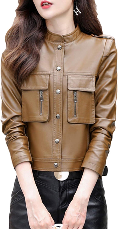 PLAER Veste courte en cuir synthétique pour femme pour automne et hiver Kaki Plus Coton.
