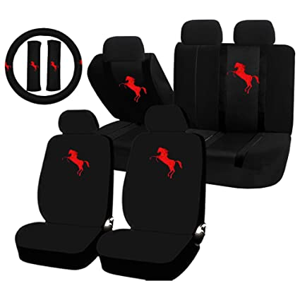 11 Piece Auto Interior Gift Set - RED Mustan Pony - A Set of 2 Black ...