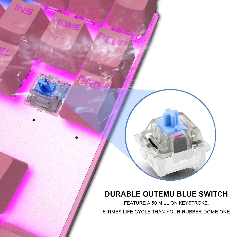 MOTOSPEED Professional Gaming Mechanical Keyboard RGB Rainbow Backlit 87 Keys Illuminated Computer USB Gaming Keyboard for Mac /& PC Pink
