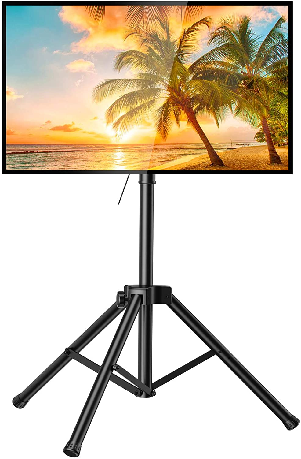 PERLESMITH TV Tripod Stand-Portable TV Stand for 37-75 Inch LED LCD OLED Flat Screen TVs-Height Adjustable Display Floor TV Stand with VESA 600x400mm, Holds up to 110lbs (PSTM2)