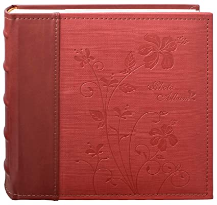 Golden State Art Maroon Floral Faux Leather Cover Photo Album For 200 4x6 Pictures 2 Per Page