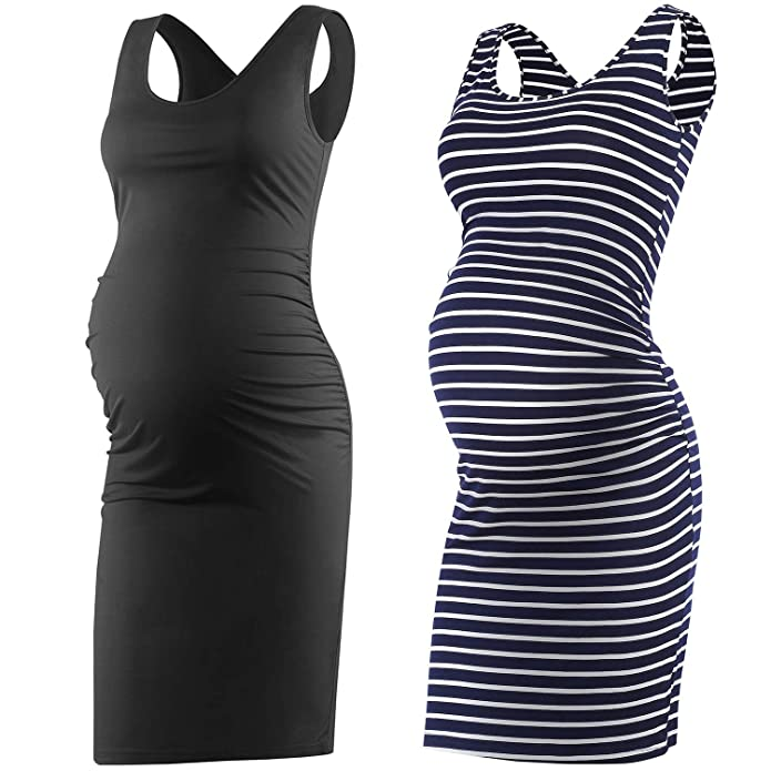 Womens Maternity Stripe Bodycon Ruched Sides Pregnancy Sleeveless Knee Length Tank Dress