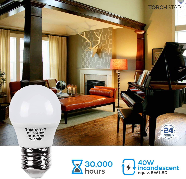 40W Eqv. Pack of 6 E26//E27 Base TORCHSTAR A15 LED Fridge Light Bulb Desk Lamp Range Hoods for Freezer 5000K Daylight Omni Directional 5W 450lm UL-Listed