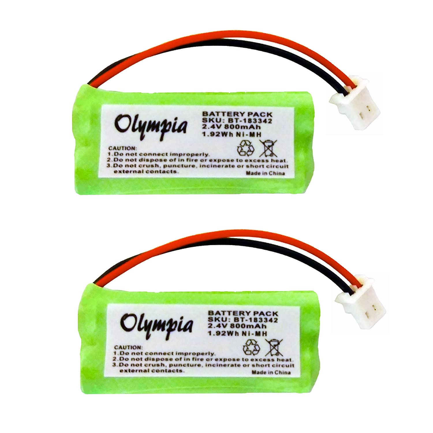 2 Pack of Uniden DWX337 Battery - Replacement for Uniden Cordless Phone Battery (Type A Connector) Olympia Battery BT183342A-2pack-349