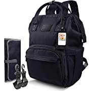 Qipi Diaper Bag - Spacious & Smart Multi-Function Nappy Bag with Built-in Changing Pad & Tissue Dispenser, The Ultimate Waterproof Baby Care Backpack for Moms & Dads - Onyx Black