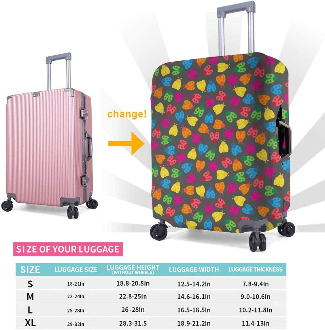 Travel Luggage Cover Spandex Suitcase Protective Cover Washable Baggage Carry on Protector Size XL L M S Rainbow Ladybugs XL