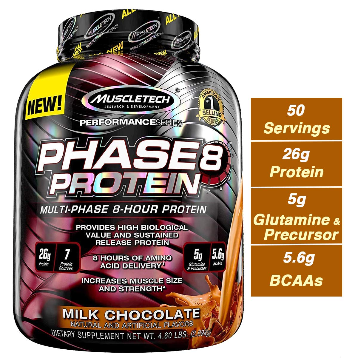 MuscleTech Phase8 Whey Protein Powder Blend, Sustained Release 8-Hour Protein Shake, Milk Chocolate, 4.6 Pound by MuscleTech