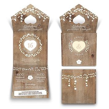 30 X Lasergeschnittene Hochzeit Einladungskarten Einladung   Holz  Lichtgirlande