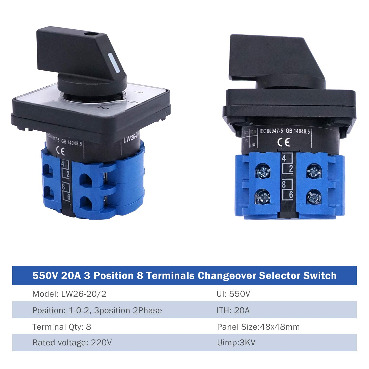 SV2-4s Blue Connection Terminal LW26-20//2 Taiss Universal Changeover Switch 20A 550V 3 Position 8 Terminals Latching Rotary Cam Selector Switch