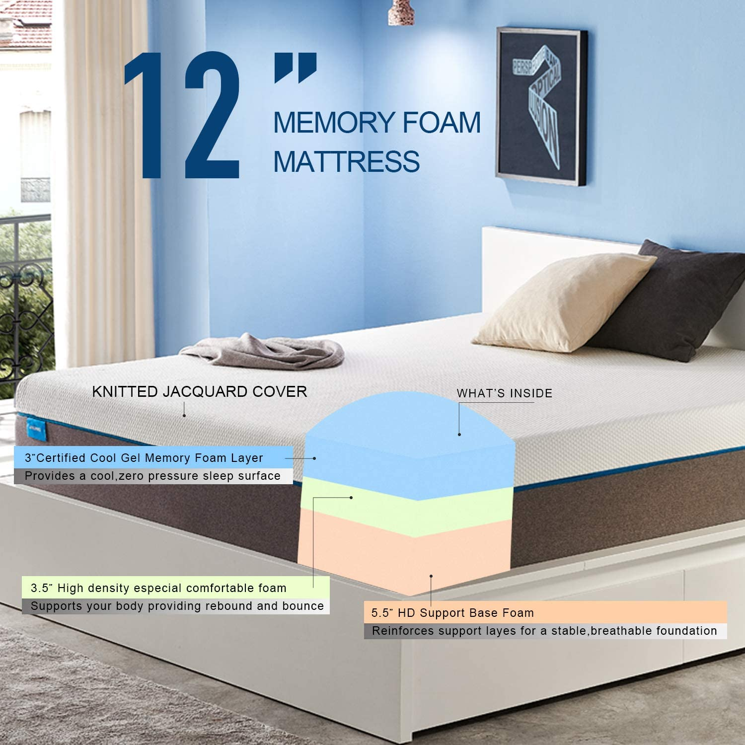 Breathable Bed Mattress with CertiPUR-US Certified Foam for Sleep Supportive /& Pressure Relief JINGWEI 10 inch Cooling-Gel Memory Foam Mattress in a Box Full Size Mattress 10 Year Warranty