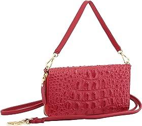 StilGut Smart Wallet en cuir - Pochette, sac, housse portable et sac à bandoulière, Croco rouge