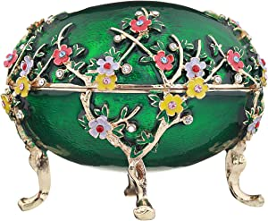 Russian Faberge Style Egg/Trinket Jewel Box Apple Blossom 4'' green