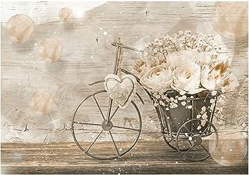 Papel pintado vintage con diseño de bicicleta y flores , 312cm x ...