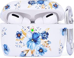 AIRSPO Silicone Cover Compatible AirPods Pro Case Floral Print Protective Case Skin for Apple Airpod Pro Charging Case 2019 LED Visible Shock-Absorbing Soft Slim Silicone Case (Blue/Daffodils)