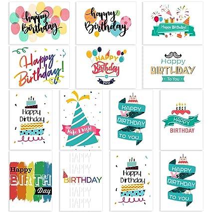 Paquete de 48 tarjetas de cumpleaños surtidas con 12 diseños ...