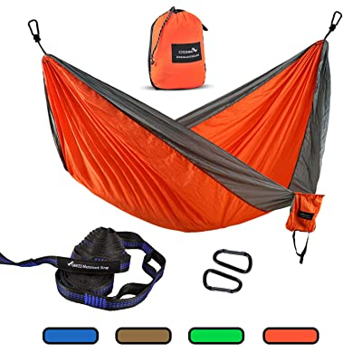 Geezo Double Camping Hammock, Lightweight Portable Parachute (2 Tree Straps 16 LOOPS/10 FT Included) 500lbs Capacity Hammock for Backpacking, Camping, Travel, Beach, Garden (Orange): Sports & Outdoors