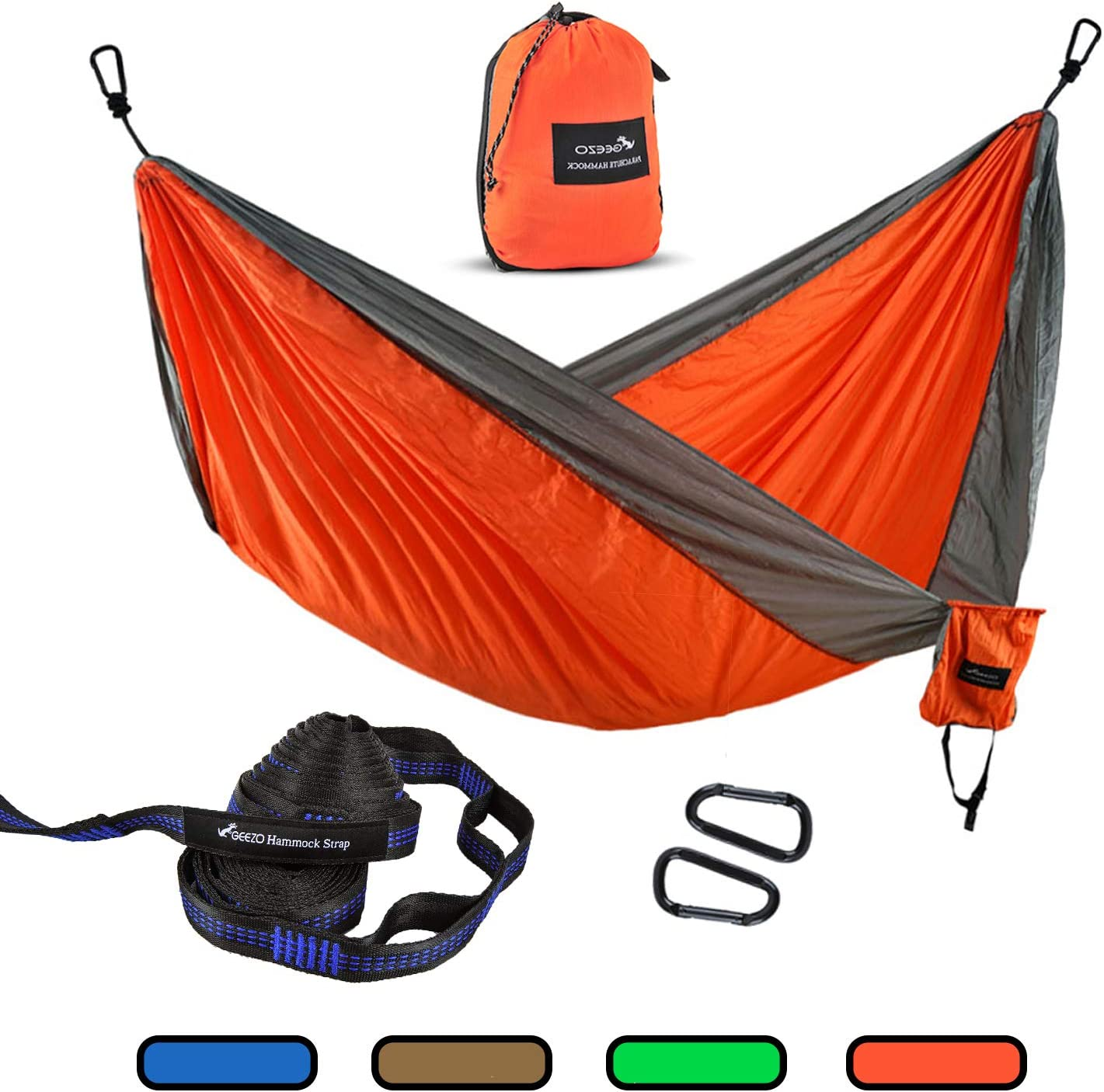 Geezo Double Camping Hammock, Lightweight Portable Parachute 2 Tree Straps 16 LOOPS 10 FT Included 500lbs Capacity Hammock for Backpacking, Camping, Travel, Beach, Garden