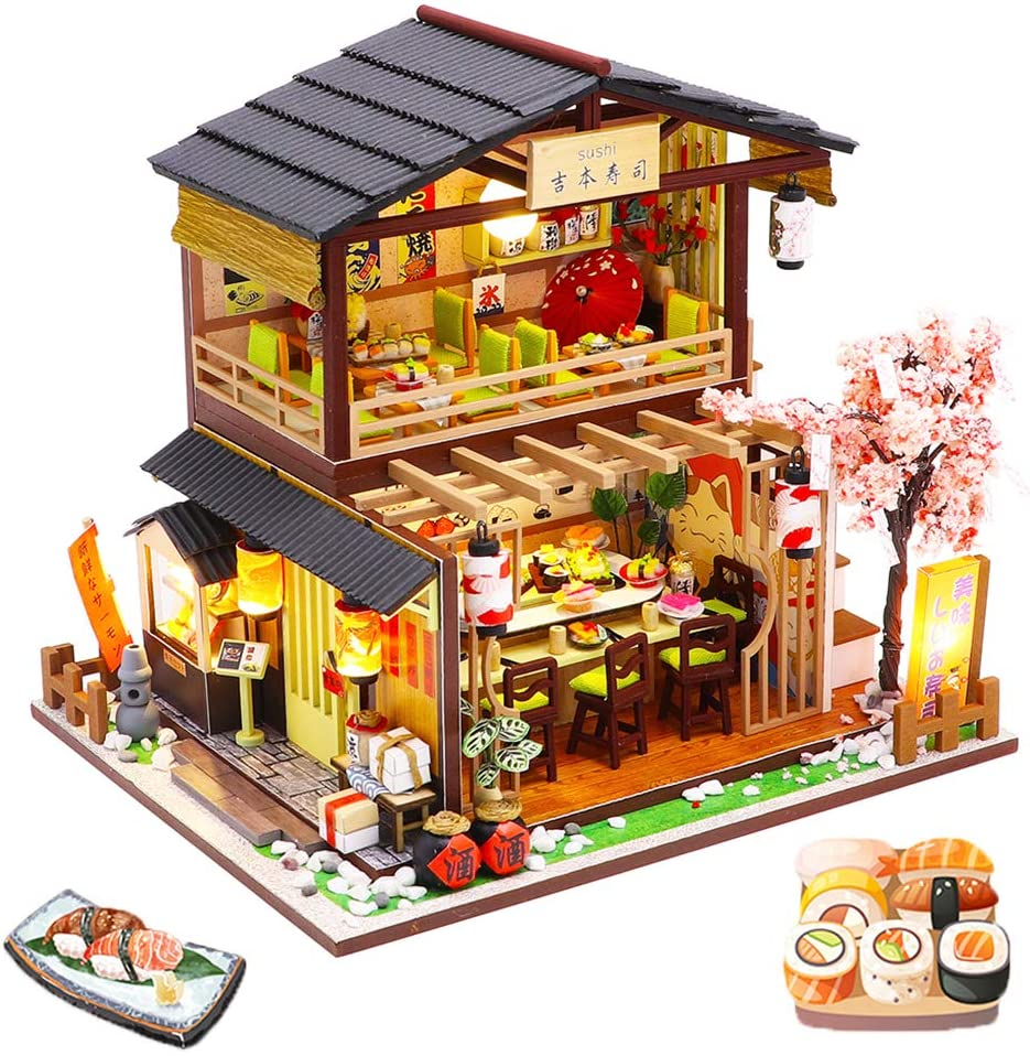 Spilay DIY Dollhouse Miniature with Wooden Furniture,Handmade Japanese Style Home Craft Model Mini Kit with Cover&LED,1:24 3D Creative Doll House Toy for Adult Teenager Gift (Gibon Sushi)