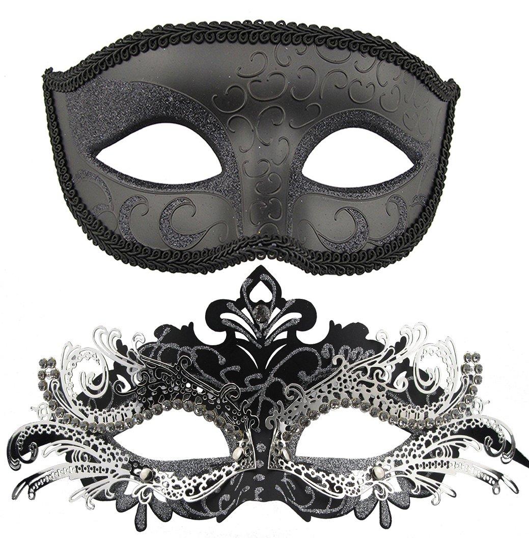 Couple Masquerade Metal Masks Venetian Halloween Costume Mask Mardi Gras Mask (Black+Black-Sliver)