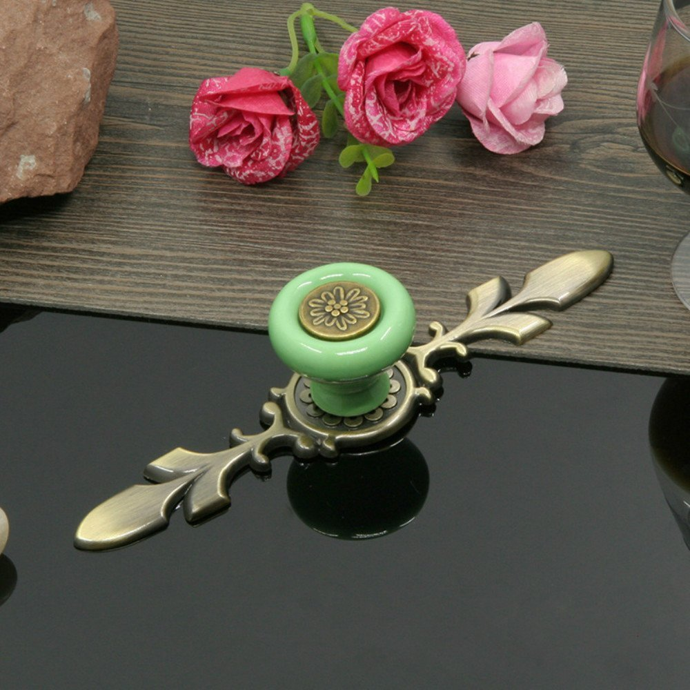 Stay Young Sytian 7pcs Candy Color Pretty Vintage Style Ceramic Pumpkin Drawer Knobs Dresser Cabinet Cupboard Wardrobe Pull Handles Door Knobs - With Screw (Green)