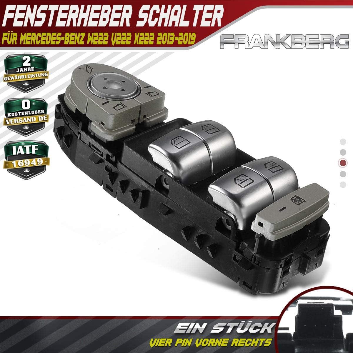 Fensterheber Schalter Schalteinheit Taste Vorne Links f/ür W222 V222 X222 2013-2019 2229052004