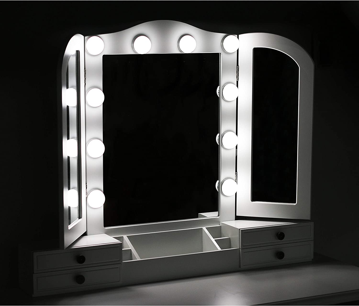 Vanity Set Makeup Dressing Table with Cushioned Wooden Stool Easy Assemble,for Beauty and Girls,White Tri-Folding Necklace Hooked Mirror with 10 Lighted Bulbs 7 Drawers