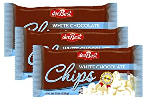 Dee Best Vegan White Chocolate Flavored Chips | Great for Baking | Non-dairy | 9oz (Pack of 3) Kosher