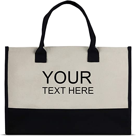 Tote With Monogram Custom Personalized Initials Shopping Bag