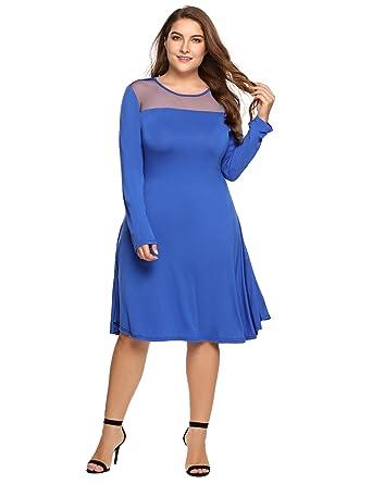 Involand Women Plus Size Sheer Mesh Patchwork Tunic Dress Long